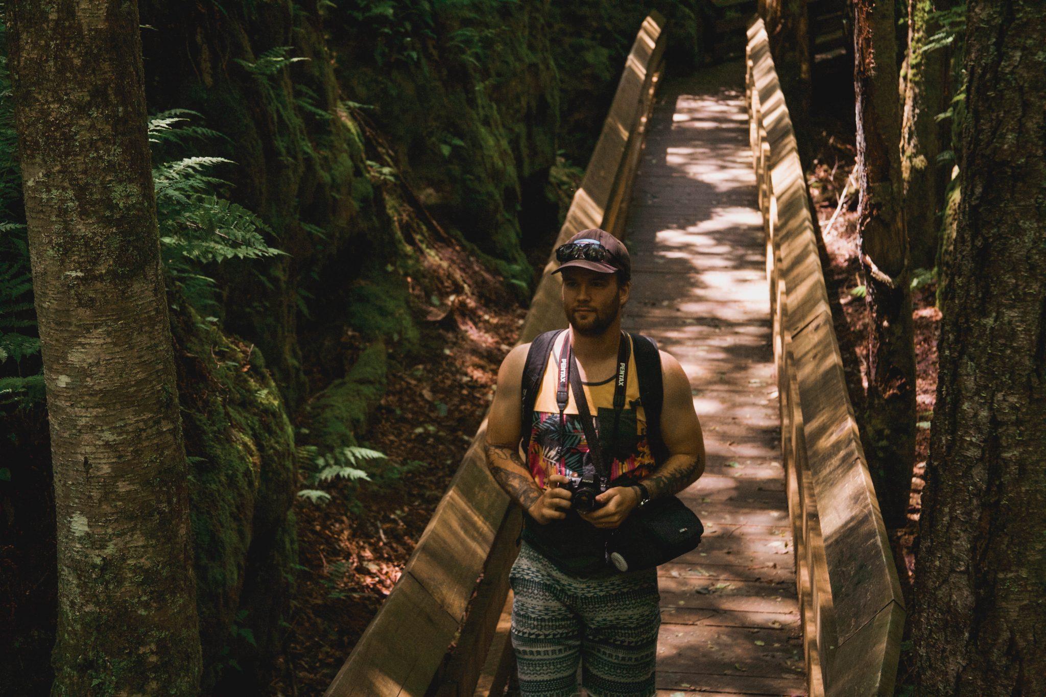 talking a stroll along the boardwalk in Beartown State Park