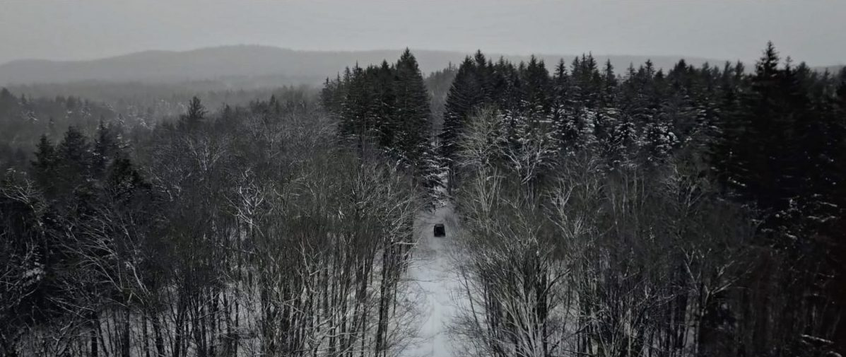 Aerial View of the Jeep in Vermont