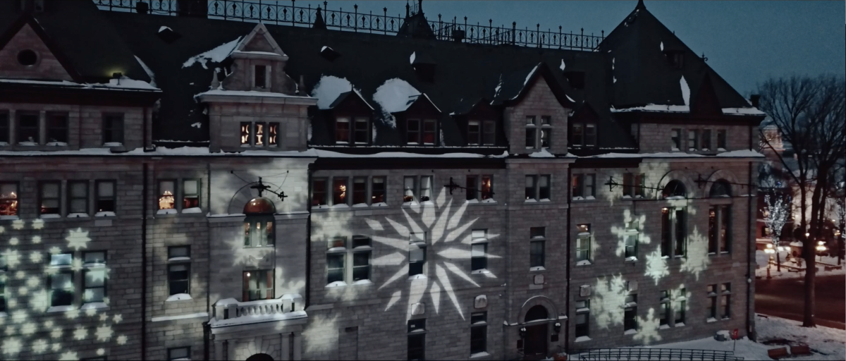 Aerial View of Winter Decorations in Quebec City