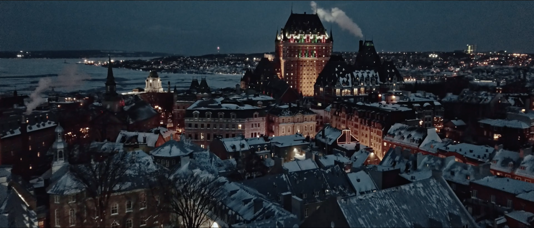 Aerial View of Quebec City at Night